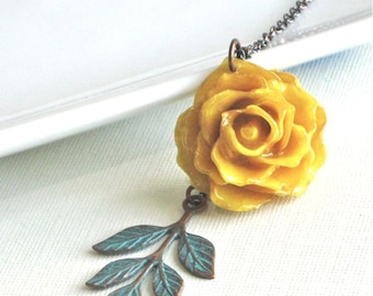 Real Mini Rose Necklace - Yellow, Flower Jewelry, Natural Preserved, Nature Jewelry
