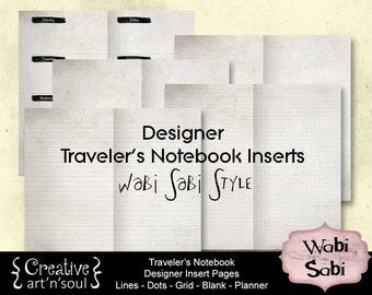 Printable Traveler's Notebook Inserts - Designer Pages Set - Wabi Sabi