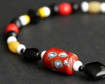 Viking Cascade Necklace in Red, Yellow, and Black. Viking Necklace. 13.75 inches (35 cm) Historical Jewelry. Norse Necklace. SCA Jewelry.