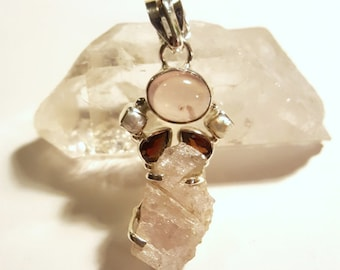 """Sterling Pendant with Rose Quartz, Garnets, and Pearls Silver Charm 1.75"""""""