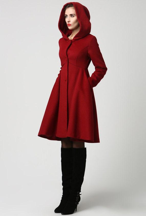 474571c5aa7 Completely new Wool Coat Winter Coat Red coat hooded coat women coat ZX66