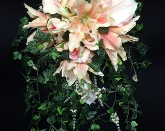 Quick Ship - Cascading Bride's Bouquet with Tiger Lilies, Roses and Calla Lilies in Shades of Blush and Peach with English Ivy