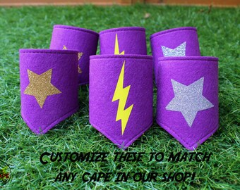 Superhero costume accessories, girls superhero costume, hero arm bands, wrist cuffs, superhero wristbands, purple felt, halloween costume