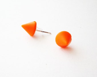 Orange spike stud earrings, Neon tangerine small cone post earrings, Neon orange earing studs, Small orange earrings, Plastic orange studs