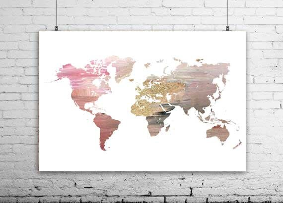 Rose gold map of the world world map art print travel gift rose gold map of the world world map art print travel gift wall decor world map wedding decoration world map wall art large world map gumiabroncs Gallery