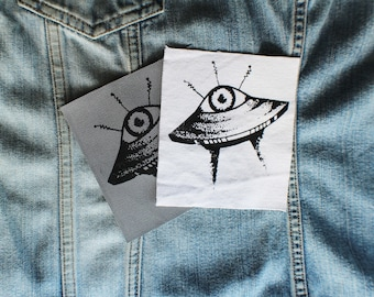 Alien Eye UFO, Screen Printed Patch