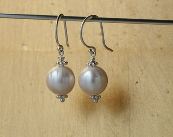 Pink Pearl Drop Earrings, Drop Cultured Pink Pearls, Gifts for Her