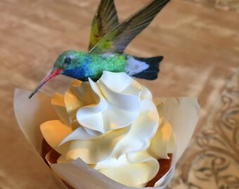Edible Cake Decorations -  Hummingbirds, 3-D Triple Sided Wafer Paper Toppers for Cakes, Cupcakes or Cookies - Set of 4.