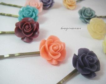 Handmade baby, toddler, girls mini hair pin(rose cabachon) - your choice