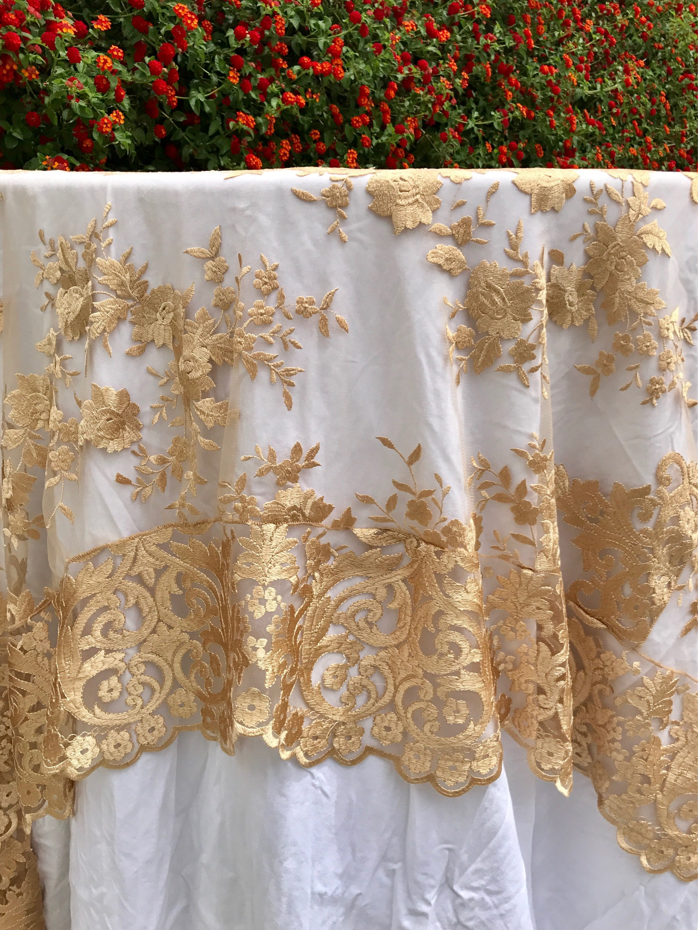 Fresh gold lace tablecloth, gold table overlay, lace table overlay  XB32