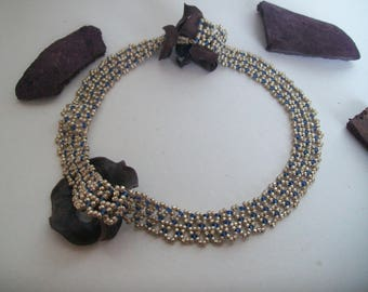 the Choker Pearl Necklace silver seed beads