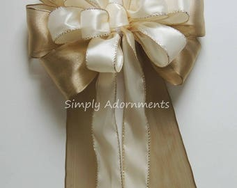 Gold Ivory Wedding Pew Bow Ivory and Gold Wedding Ceremony Decor Wedding Chair Bow Baby Shower Gold Ivory Wired ribbon Bridal Shower Decor