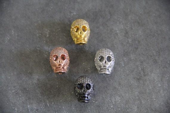 CZ Micro Pave 11x18mm  Skull  Beads