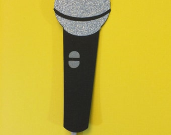 Photo Booth Props- Microphone with Glitter - Photo Booth Prop with Glitter