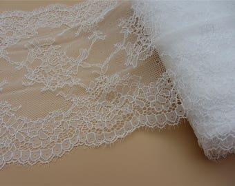 off white wedding lace,Stretch eyelash Lace Trim - Extra Wide Lace Trim, 22.50 Wide Lace Trim- white