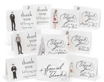 Bridal Party Thank You Cards  -  Set of 30 Cards