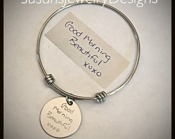 Handwritten Message Expandable Bracelet - stainless steel 1 sided disc and bangle - handwritten keepsake handwriting jewelry - hand writing