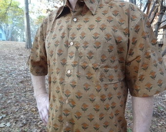 Ethnic Men's Hand Block Printed Indian Woven Cotton Short Sleeved Button Down Pocket Shirt - Size XL - Wyatt G733