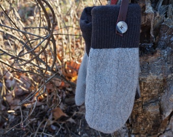Beige and Brown Sweater Mittens