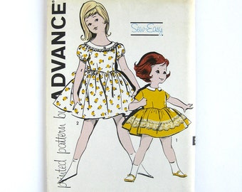 1960s Girls Vintage Dress Sewing Pattern / Advance 9812 / Child's Full Skirt Party Dress  // UNCUT FF / Size 6