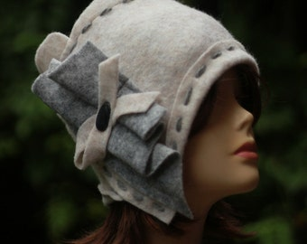 White Cloche hat Country Spring Beanie Retro hat Women Winter Hat Wearable art Flapper hat Eco Clothing Retro felted 1920s hat Gray Beanie.