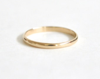 14k Gold Ring- Women's Wedding Band- Yellow Gold Ring- 14k Gold Wedding Band- Half Round Wedding Band- 2mm Wedding Band- Smooth Wedding Band