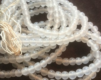 Vintage Glass Beads (100)(5-6mm) Handmade Translucent Japanese Beads