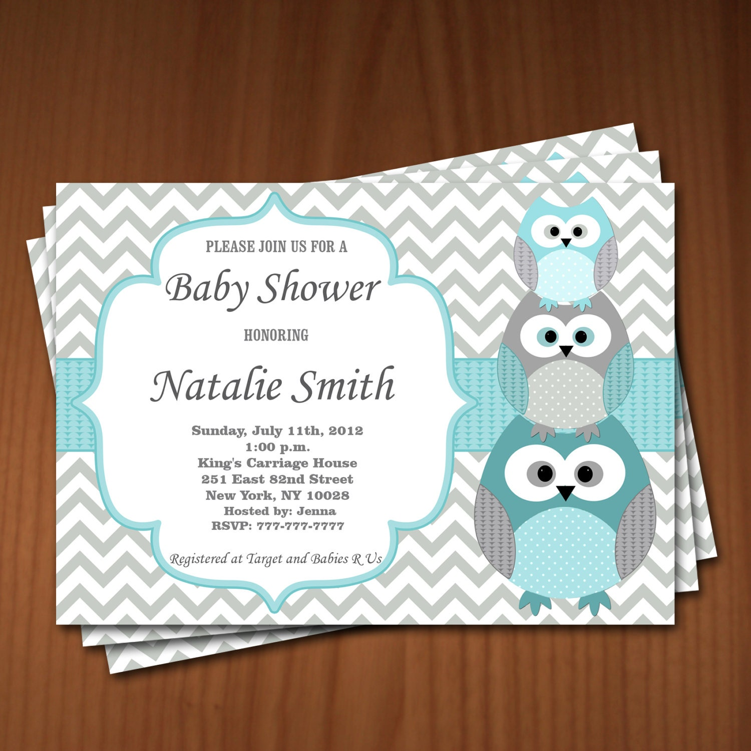 Owl Baby Shower Invitation Boy Baby Shower invitations