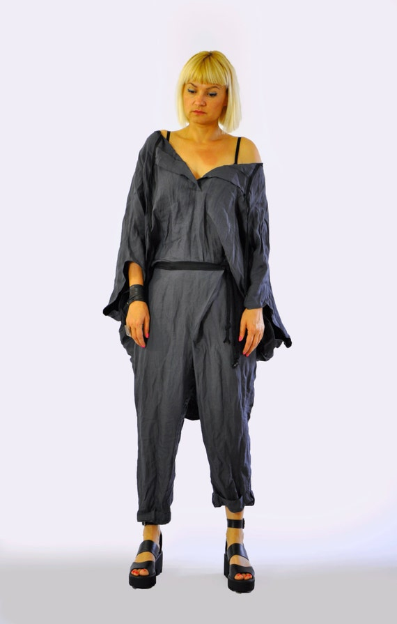Oversize Casual Maxi Oversize Extravagant SET Linen Loose Loose and Top Gray SET Gray Top Top Set Set Gray T1214 Linen Shirt Pants Pants ZZwr8Hq