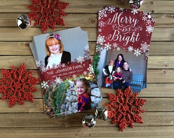 Digital Christmas Card - Customizable - Photo Christmas Card - Red and White Snowflakes