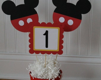 Mickey or Minnie Mouse Center Piece Picks, Mickey or Minnie Mouse Center Piece, Mickey or Minnie Mouse Birthday Party Decor