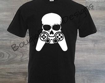 Custom Gamer Skull Video Gamer Shirt