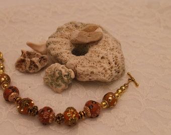 Brownish Orange Beaded Bracelet