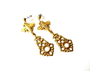 Apiarist Earrings - Beekeeper Jewelry - Honey Bee Earring - Christmas Present Idea