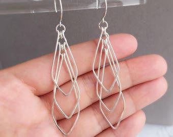 Geometric Earrings in Silver, Dangle Earrings, Trendy Earrings, Long Geometric Earrings, V shape Geometric - for Her, byJTSjewelry