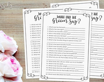 What did the Groom Say? Bridal Shower Quiz Game - INSTANT DOWNLOAD - Printable Wedding Shower Games / Sassaby Weddings