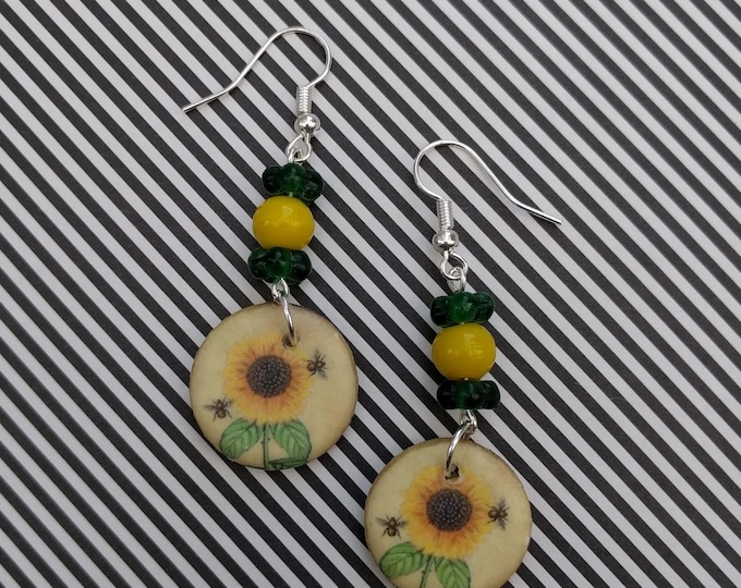 Sunflower Statement Earrings, Floral Jewelry