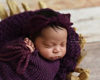 Eggplant Purple Wide Bow Mohair Headband Newborn Photography
