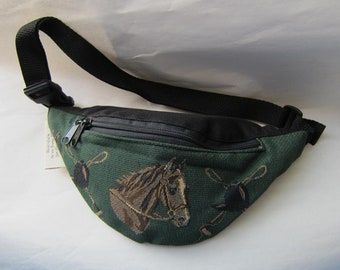 Tapestry Fabric HORSEHEAD on Green Equestrian Horse Small Fanny Pack Waist Pack made in USA