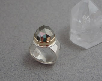 RESERVED - HOLIDAY SALE - Rose Cut Pyrite Ring in 18k Gold and Sterling Silver, Faceted Metallic Stone Ring