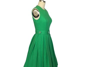 Green with Envy Dress // 1950s Fit and Flare Green Dress with Belt Small