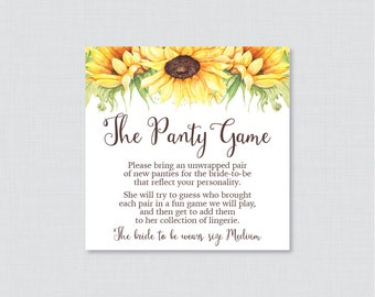 Sunflower Panty Game - Printable Sunflower Lingerie Shower Panty Game AND Sign - Fall Rustic Lingerie Game, Bachelorette Party Game 0016-A