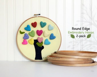 ON SALE!!  50% Off Round Edge Embroidery Hoops - Circle Embroidery Hoops with Round Edges - Pack of 2