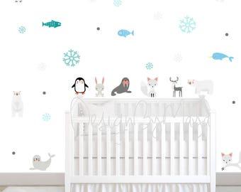 Arctic Animals, Baby Wall Decals, Modern decor Baby room, Baby Nursery art, Wall Decal Kids, Modern Nursery Wall Decal, Children cling decor