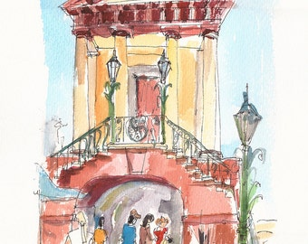 Walking through Old City Market, Charleston, fine art print from an original watercolor illustration