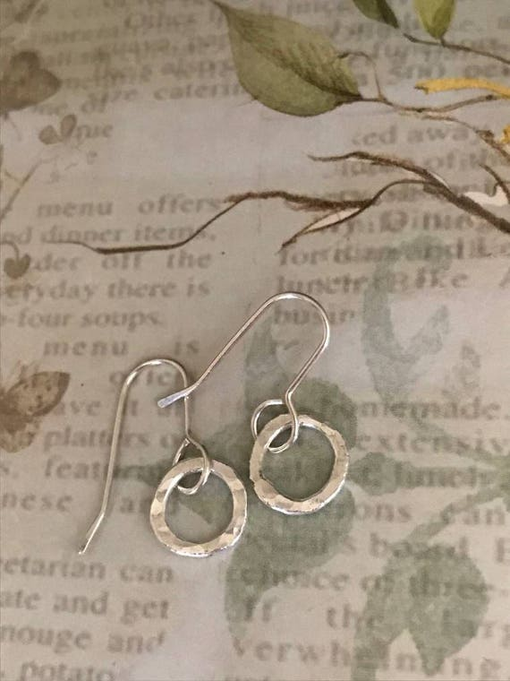 Tiny silver circle earrings, Mini silver hoops, Simple earrings,  round,hammered, circle, fine silver, fused, everyday pierced ear wear