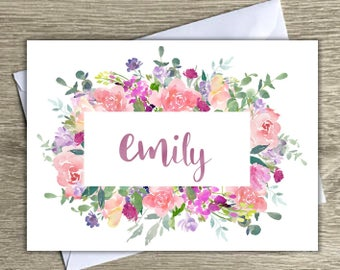 Personalized stationary, personalized notecards, floral notecards with name, notecards with envelopes, stationery personalized