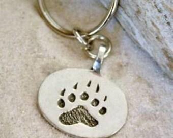 Pewter Bear Claw Paw LGBT Gay Pride Keychain Key Ring (21D)