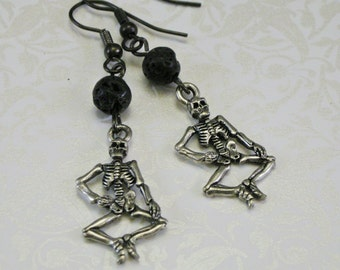 Pewter Skeleton Earrings
