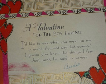 Vintage 1930s Art Deco Valentine Card With Real Lipstick Print